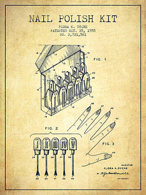 Nail Polish Drawing - Nail Polish Kit Patent From 1955 - Vintage by Aged Pixel