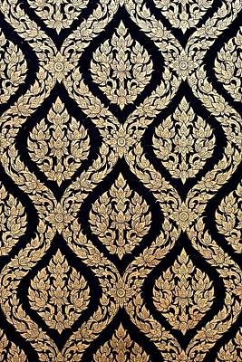 Naive Thai Style Of Gilded Black Lacquer Original