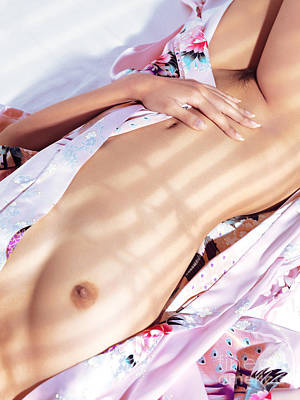 Naked Vagina Photograph - Naked Asian Woman Body In Pink Yukata Kimono by Oleksiy Maksymenko