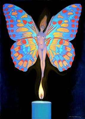 Naked Butterfly Lady Transformation Art Print by Sue Halstenberg