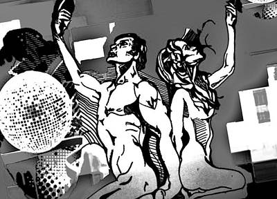 Disco Drawing - Naked Disco by John-Paul Gibbs