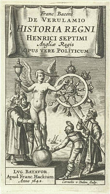 Clemente Drawing - Naked Fortuna Globe Rotates The Wheel Of Fortune by Cornelis Van Dalen I And Franciscus Hackius