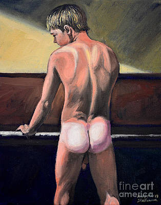 Naked Nude Male Piano Player Art Print