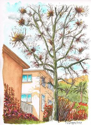Naked Tree In Laurel And Selma Avenue, West Hollywood, California Art Print by Carlos G Groppa