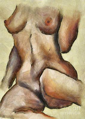 Female Nude. Nude Drawings Digital Art - Naked Woman Body - Torso by Michal Boubin