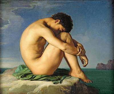 Neoclassical Photograph - Naked Young Man Sitting By The Sea, 1836 Oil On Canvas by Hippolyte Flandrin