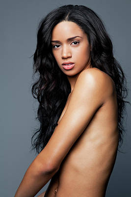 Naked Photograph - Naked Young Woman With Long, Black by Andreas Kuehn