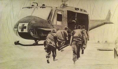 Vietnam War Drawing - Nam Medevac by Samuel Zanco