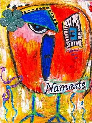 Painting - Namaste Birdie Acknowledges The Soul In You  by Corina  Stupu Thomas