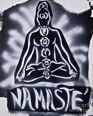 Free Speech Painting - Namaste Black N White by Tony B Conscious