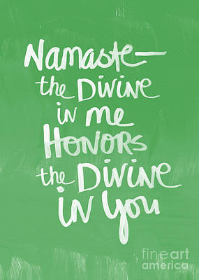 Namaste Card Art Print by Linda Woods