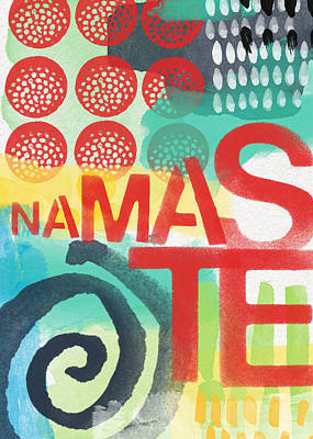 Red Abstract Art Mixed Media - Namaste- Contemporary Abstract Art by Linda Woods