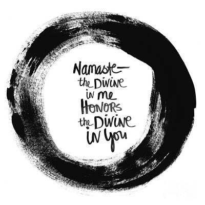 Black Painting - Namaste Enso by Linda Woods