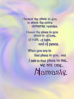 Digital Art - Namaste by Ginny Schmidt
