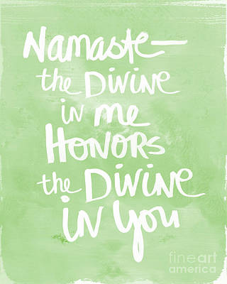 Namaste Green And White Art Print