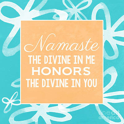 Namaste Watercolor Flowers- Blue Art Print by Linda Woods