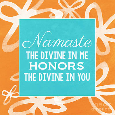 Namaste Watercolor Flowers Art Print by Linda Woods