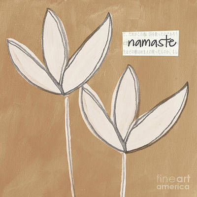 Namaste White Flowers Art Print by Linda Woods