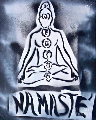 Free Speech Painting - Namaste White N Black by Tony B Conscious