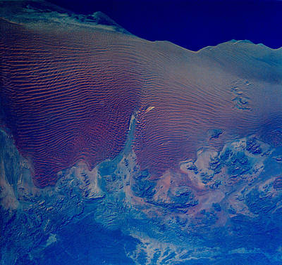 Satellite View Photograph - Namib Desert Skeleton Coast Of Southwest Africa by Anonymous