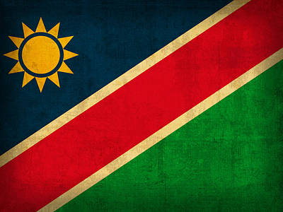 Flag Mixed Media - Namibia Flag Vintage Distressed Finish by Design Turnpike