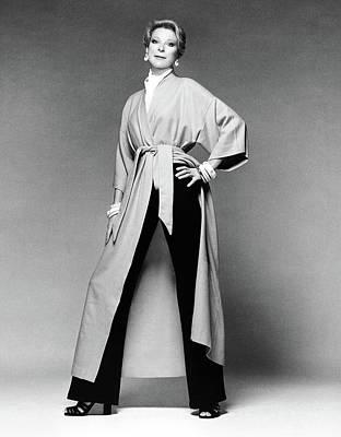 Nan Kempner Wearing A Kimono Robe And Pants Art Print
