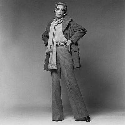 Valentino Photograph - Nan Kempner Wearing A Pea Jacket And Trousers by Francesco Scavullo