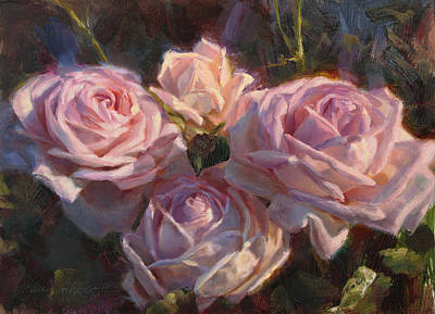 Nana's Roses Art Print by Karen Whitworth