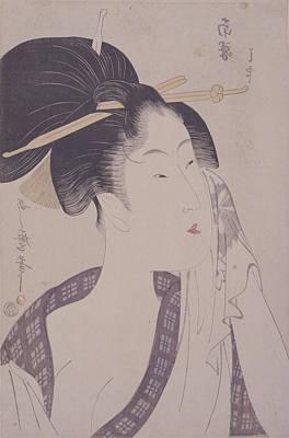 Portrait Woodblock Painting - Naneki Ha-jirushi = Ha by Artokoloro