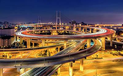 China Wall Art - Photograph - Nanpu Bridge by Hua Zhu
