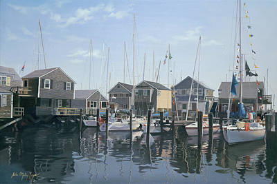 Buzzard Wall Art - Painting - Nantucket Harbor Meet by Julia O'Malley-Keyes