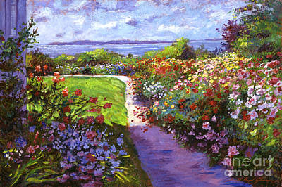 Popular Painting - Nantucket Island Garden by David Lloyd Glover