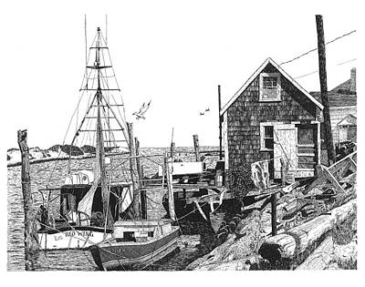 Cape Cod Drawing - Nantucket Wharf by Paul Kmiotek