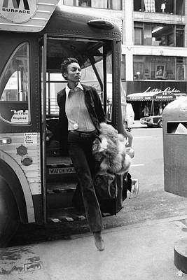 Suede Photograph - Naomi Sims Getting Off A Bus by Berry Berenson