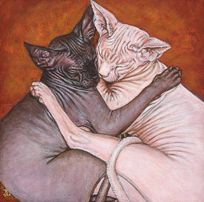 Sphynx Cat Painting - Nap Time by Akiko Watanabe