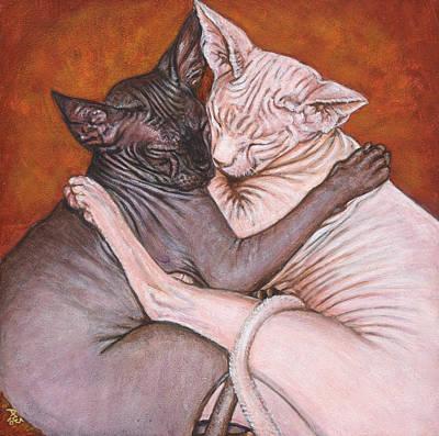 Sphynx Art Painting - Nap Time by Akiko Watanabe
