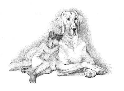 Nap Time. Dog And A Girl. Stippling. Art Print