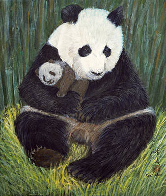 Panda Bear Painting - Nap Time by Komi Chen