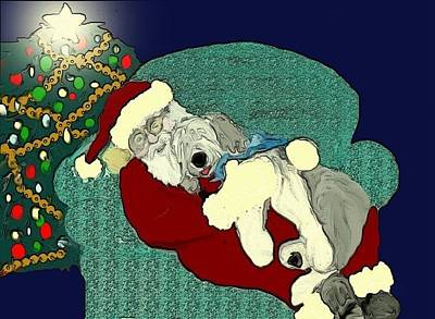 Mixed Media - Nap With Santa by Cathy Howard