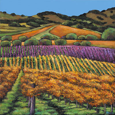 Chardonnay Wine Painting - Napa by Johnathan Harris