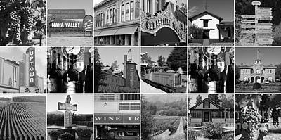 Napa Sonoma County Wine Country 20140906 Black And White Art Print