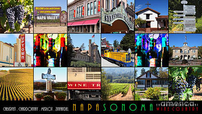 Napa Sonoma County Wine Country 20140906 With Text Art Print