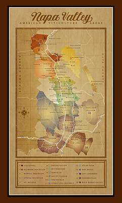 Napa Valley Ava Map Art Print by Marc Bell