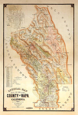 Wine Grapes Photograph - Napa Valley Map 1895 by Jon Neidert