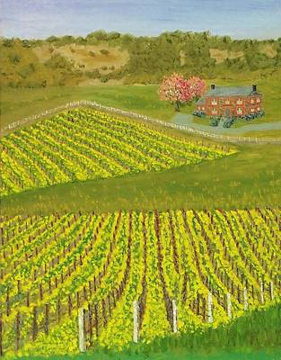 Napa Valley Vineyard Painting - Napa Valley Mustard Crop by Mike Caitham