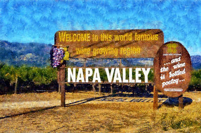 Digital Art - Napa Valley Sign by Kaylee Mason
