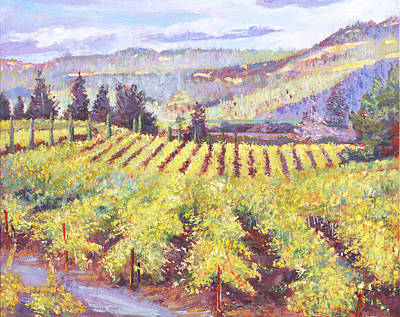 Pastoral Vineyard Painting - Napa Valley Vineyards by David Lloyd Glover