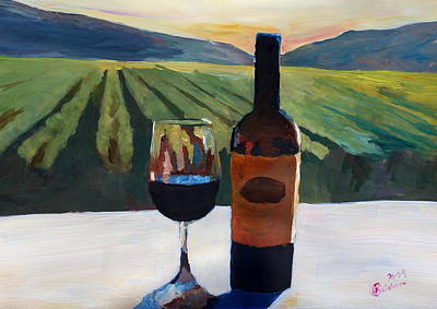 Glass Of Wine Painting - Napa Valley Wine Bottle With Red Wine by M Bleichner