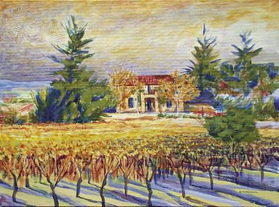 Napa Valley Vineyard Painting - Napa Valley Estate by Mark Meininger