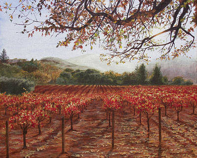 Napa Valley Vineyard Painting - Napa Vineyard In The Fall by Mark Meininger
